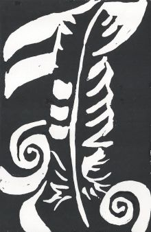 [Artist page] Feather (lino cut)